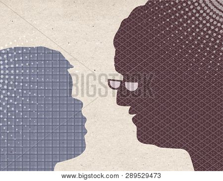 Profile drawn silhouettes - Child with Grand Mother