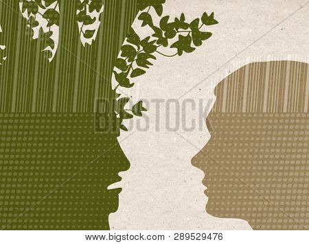 Profile drawn silhouettes - Angry Tree with listening Human