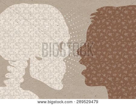 Profile drawn silhouettes - Surprised human with Skeleton