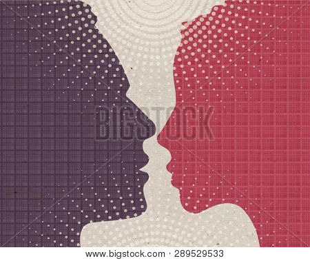 Profile drawn silhouettes - Loving man and woman