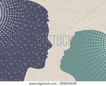 Profile drawn silhouettes - Mother with Child