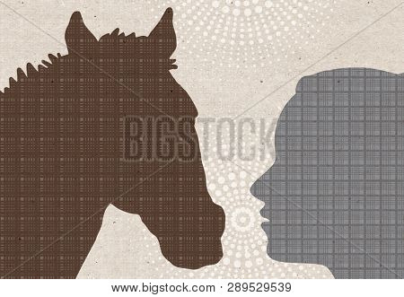 Profile drawn silhouettes - Woman with Horse