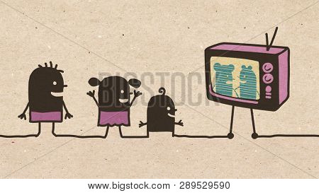Black cartoon Children watching TV