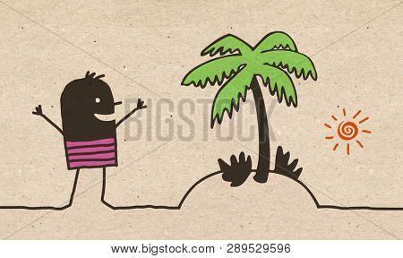 Black cartoon Man with Exotic Island