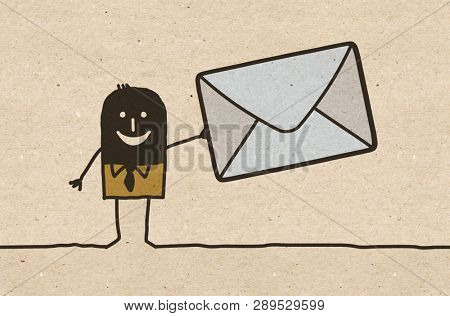 Black cartoon Man with big mailing Envelope