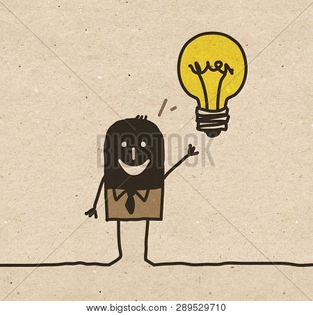 Black cartoon Businessman having an Idea