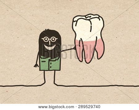 Black cartoon Dentist with big Tooth