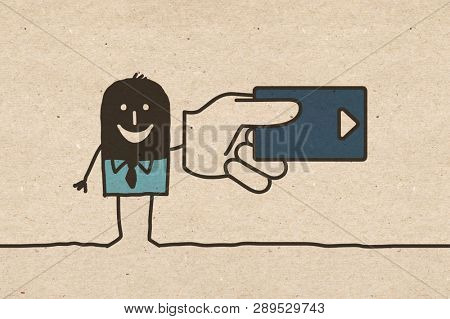 Black cartoon Man with big Credit Card