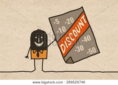 Black cartoon Businessman with Discount announce