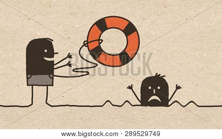 Black cartoon Rescuer with Security Buoy