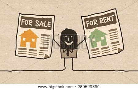 Black cartoon Real Estate Agent