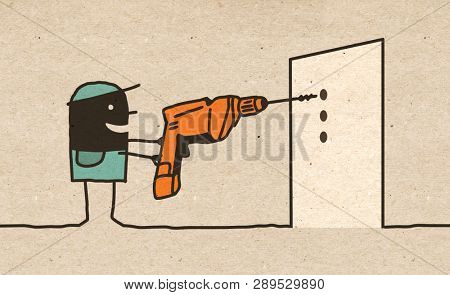 Black cartoon Worker with Drill