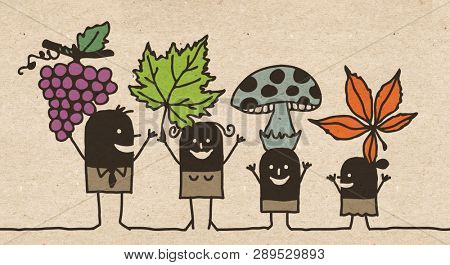 Black Cartoon Family - Autumn Picking