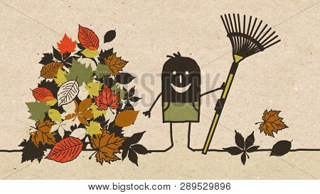 Black Cartoon Gardener with Autumn Leaves