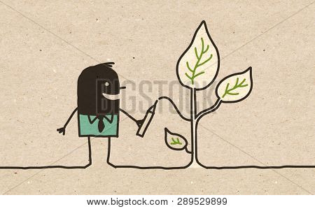 Black Cartoon Man drawing Plants