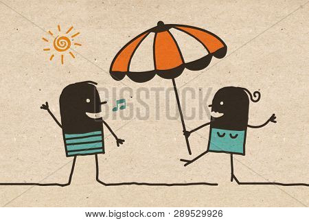 Black cartoon Summer Couple with Parasol