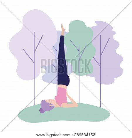 Woman Practice Yoga Position Harmony Vector Illustration