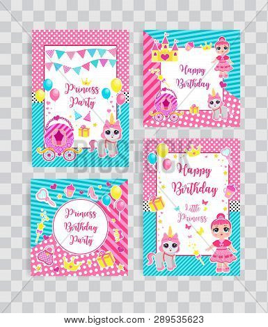 Happy Birthday Set Greeting Or Invitation Cards For A Little Princess In Lol Doll Surprise Style. Te