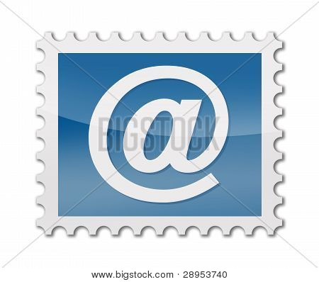 postage stamp with @ symbol