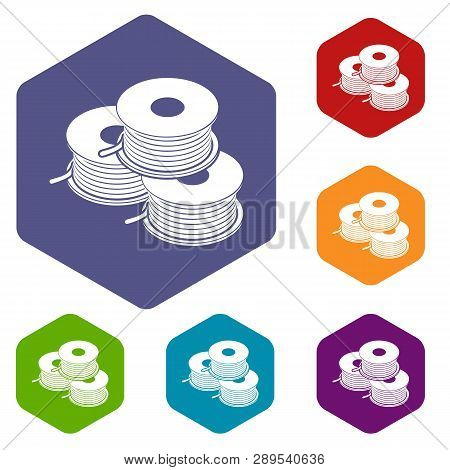 Coil For D Printer Icons Vector Colorful Hexahedron Set Collection Isolated On White
