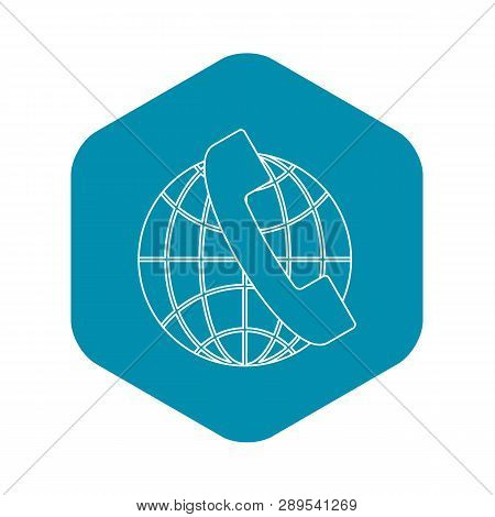 Global Communications Icon. Outline Illustration Of Global Communications Vector Icon For Web