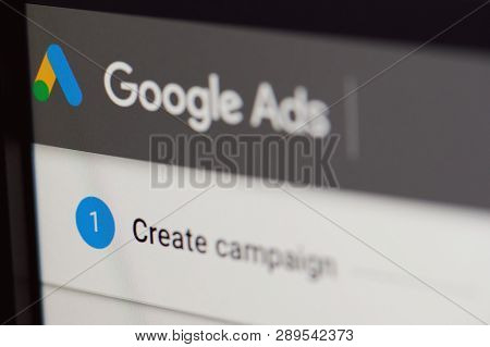 New York, Usa - March 14, 2019: Create Google Ads Campaign  On Laptop Screen Close Up