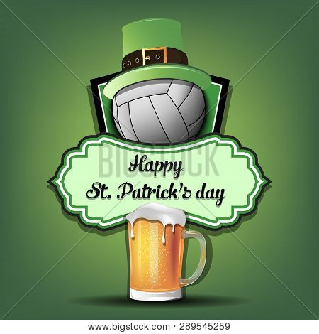 Happy St. Patricks Day. Volleyball Logo Template Design. Volleyball Ball With St. Patrick Hat And Mu