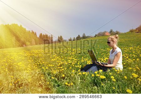 Girl with a notebook computer on the spring meadow