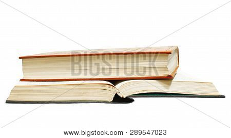 Open And Closed Books On White Background