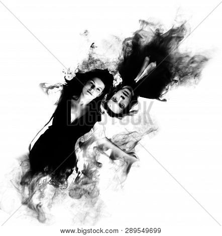 Black And White Picture Of Young Men And Women Fading Smoke