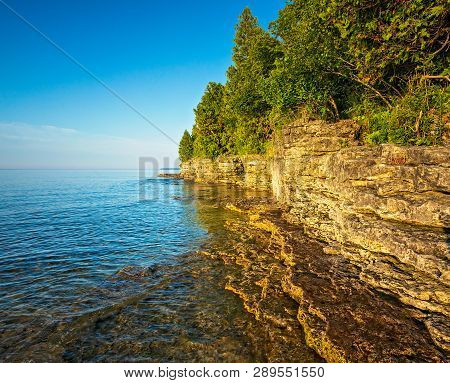 Rocky Coast At Cave Point On Lake Michigan