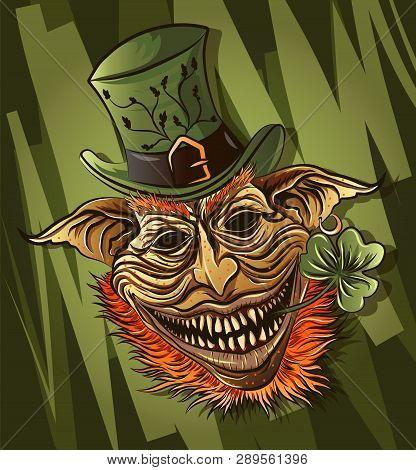 Tough Cartoon Angry Leprechaun St Patricks Day Character, Avatar For Irish Holiday