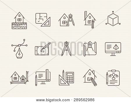 Home Project Line Icon Set. Blueprint, Computer, House, Ruler, Pencil. Architecture Concept. Can Be