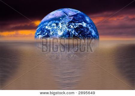 Image Of Earth With Ocean As Background