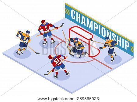 Hockey Championship Isometric Composition With Forward Slapshot Scoring And Protecting Net Goaltende