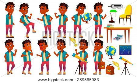 Indian Boy Schoolboy Kid Poses Set Vector. Primary School Child. Young People. Astronomy. Discover P