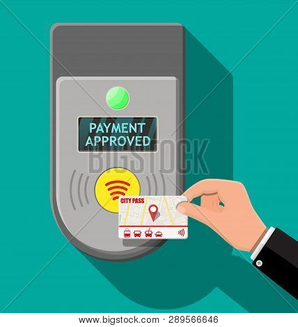 Terminal and passenger transport card in hand. Airport, metro, bus, subway ticket terminal validator. Wireless, contactless or cashless payments, rfid nfc. Vector illustration in flat style poster