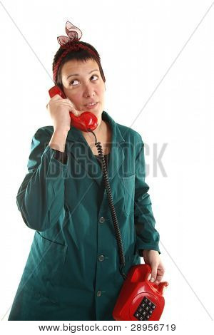 Housewife is talking at phone