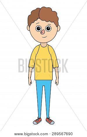 Cute Boy Body Cartoon Vector Illustration Graphic Design