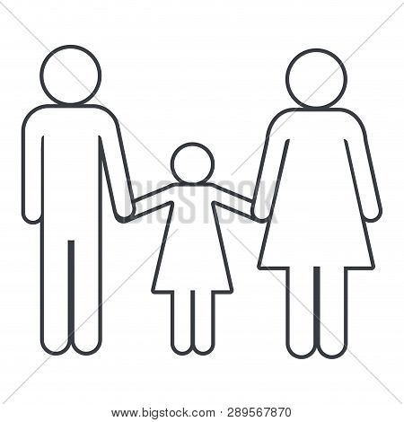 Family Pictogram Couple With Daughter Cartoon Vector Illustration Graphic Design