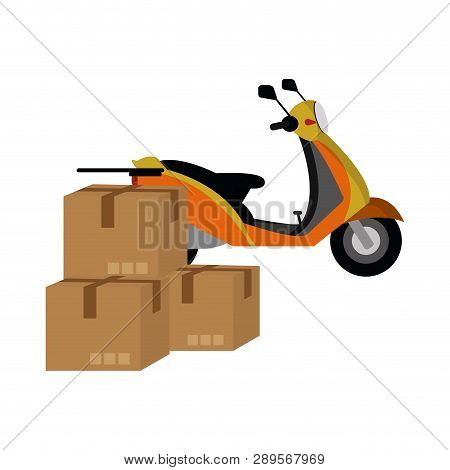 Delivery Scooter With Boxes Vector Illustration Graphic Design
