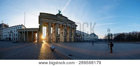 BERLIN, GERMANY - MARCH 27, 2016: Photographers taking pictures in Brandenburg Gate.