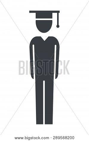 Man Pictogram Student Wearing Graduation Hat Cartoon Vector Illustration Graphic Design