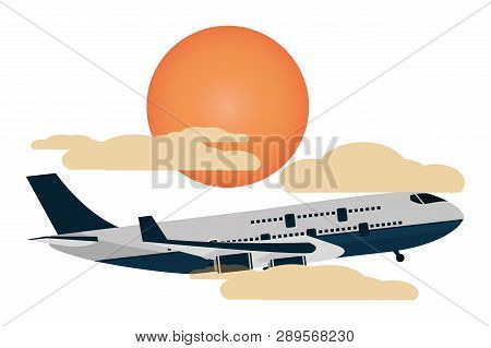 Transportation Concept Airplane Flying Between Clouds And Sun At Sunset Scene Cartoon Vector Illustr