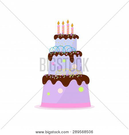 High three-tiered birthday cake with chocolate topping, cream decor and candles on white poster