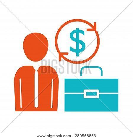 Man Pictogram Saving Money Concept Cartoon Vector Illustration Graphic Design
