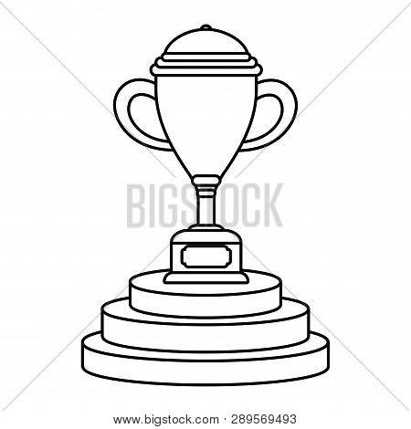 Trophy Cup On Podium Symbol Vector Illustration Graphic Design