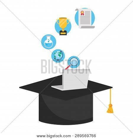 Online Education Graduate Hat Cartoon Vector Illustration Graphic Design