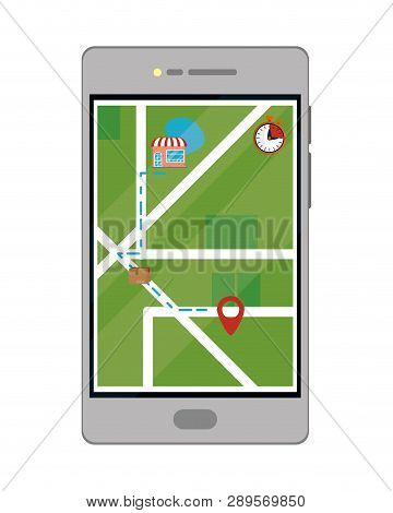 Cellphone With Map And Location Symbol Vector Illustration Graphic Design