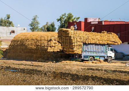 Meknes, Morocco - September 18, 2018: Hay Dealer Trading Bales Of Hay At A Weekly Market In A Small
